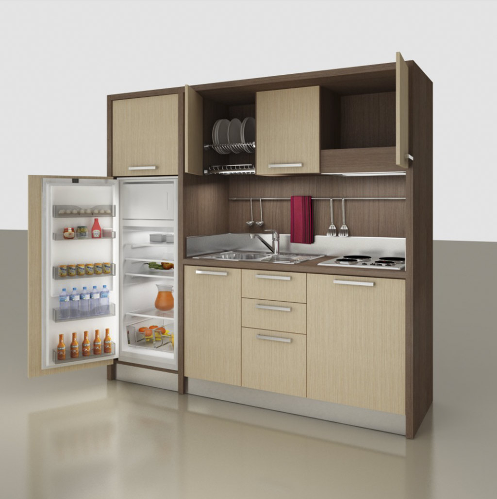 Mini kitchen with hanging cabinets, K 133 model