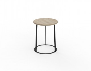 Urban bediside table with wooden top in pinstripe oak finish and metal structure in black colour