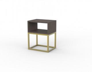 "Urban bedisde table with open compartment in ""altea"" finish and golden metal structure"
