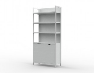Urban cabinet with metal structure, two doors and two shelves