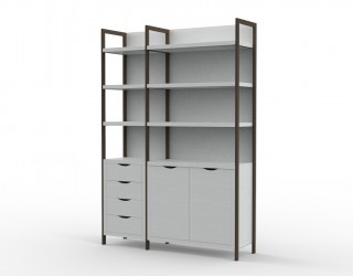 Urban cabinet with metal structure, four drawers, two doors and four shelves