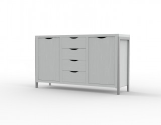 Small cabinet, Urban model, with metal structure, two doors and four drawers