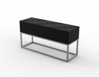 Small bench (Urban Model) with seat in eco-leather and metal structure