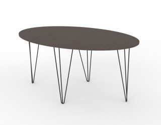 Oval table (Urban model) with wooden top and metal legs